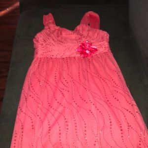 Girls pink sparkly formal dress